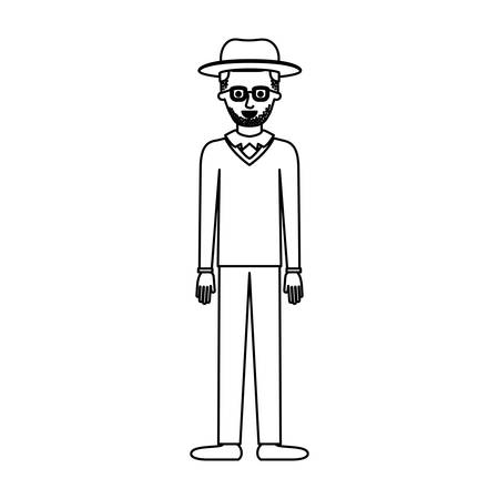 man with hat and glasses and sweater and pants and shoes with short hair and stubble beard in monochrome silhouette vector illustration Stock Vector - 90536249