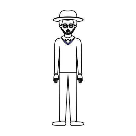 man with hat and glasses and sweater and pants and shoes with stubble beard in monochrome silhouette vector illustration