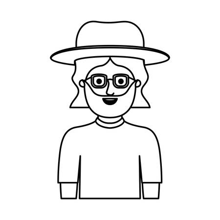 man half body with hat and glasses and t-shirt with mid length hair and beard in monochrome silhouette vector illustration Vectores