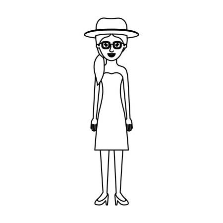 woman with hat and glasses and strapless dress and heel shoes with pigtail hairstyle in monochrome silhouette vector illustration