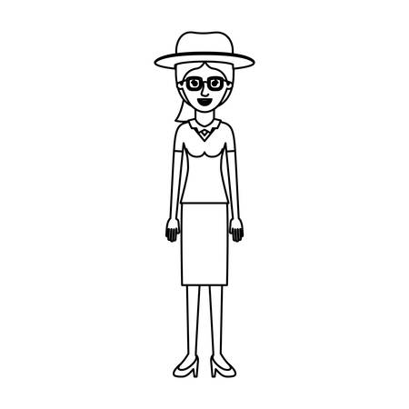 woman with hat and glasses and blouse with skirt and heel shoes with ponytail hair in monochrome silhouette vector illustration
