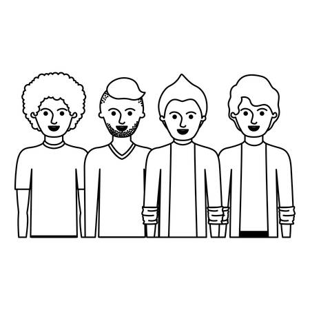men in half body with casual clothes with short hair and hairstyles different in monochrome silhouette vector illustration