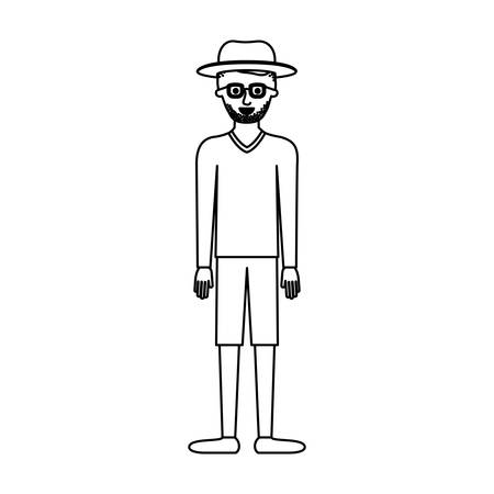 man with hat and glasses and sweater and short pants and shoes with short hair and stubble beard in monochrome silhouette vector illustration Illustration