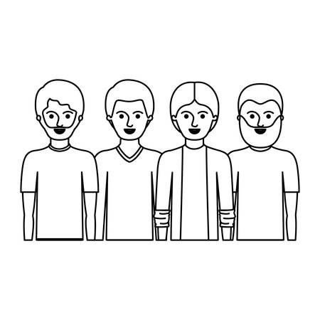 men in half body with casual clothes with short hair and some with beard in monochrome silhouette vector illustration