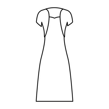female clothes with strapless dress and vest in monochrome silhouette vector illustration