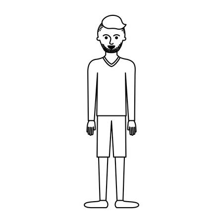 man full body with t-shirt long sleeve and short pants and shoes with high fade haircut and stubble beard in monochrome silhouette vector illustration