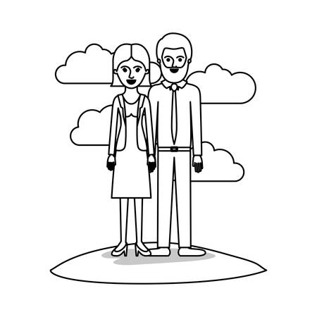 couple monochrome scene outdoor and her with blouse and jacket and skirt and heel shoes with short straight hairstyle and him with shirt and tie and pants and shoes with short hair and bearded vector illustration
