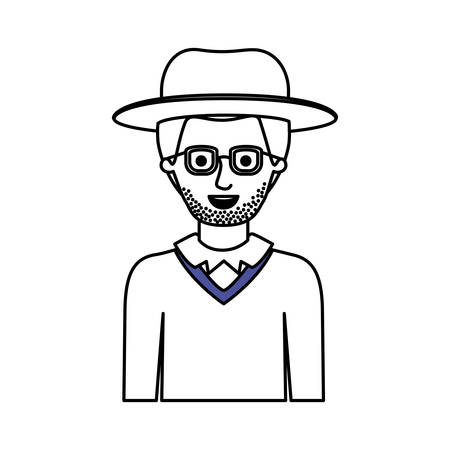 man half body with hat and glasses and sweater with stubble beard in monochrome silhouette vector illustration