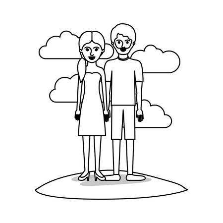 couple monochrome scene outdoor and her with strapless dress and heel shoes with pigtail hairstyle and him with t-shirt and short pants and shoes with short hair and beard vector illustration