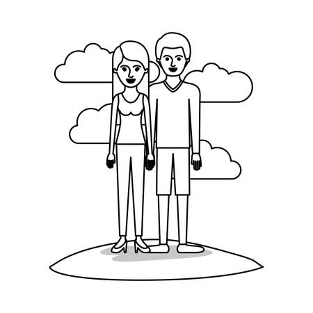 couple monochrome scene outdoor and her with t-shirt sleeveless and pants and heel shoes with long straight hair and him with sweater and short pants and shoes with short hair vector illustration