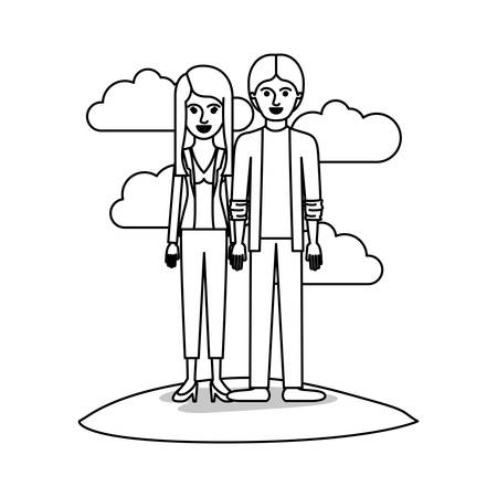 couple monochrome scene outdoor and her with blouse and jacket and pants and heel shoes with layered hair and him with shirt and jacket and pants and shoes with middle part hairstyle vector illustration