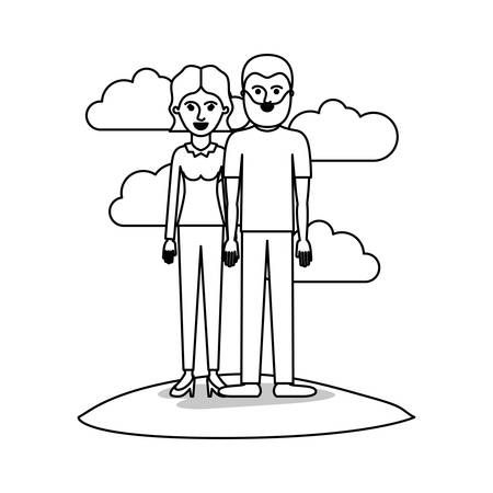 couple monochrome scene outdoor and her with blouse long sleeve and pants and heel shoes with short wavy hair and him with t-shirt and pants and shoes with short hair and beard vector illustration