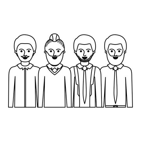 men in half body with casual clothes with short hair and some with beard and moustache in monochrome silhouette vector illustration