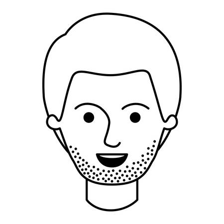male face with short hair and stubble beard in monochrome silhouette vector illustration
