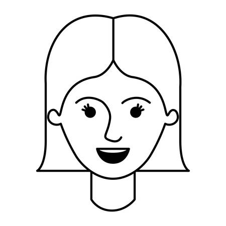 female face with short straight hairstyle in monochrome silhouette vector illustration Illustration