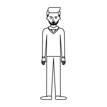man full body with stubble beard and sweater and pants and shoes with side parted hairstyle in monochrome silhouette vector illustration