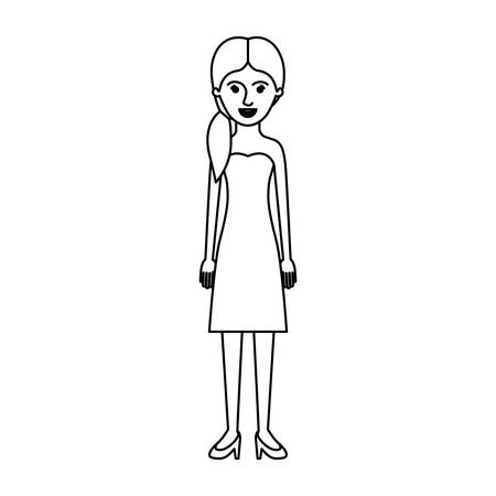 woman full body with strapless dress and heel shoes with pigtail hairstyle in monochrome silhouette vector illustration Illustration