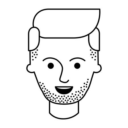 male face with stubble beard and side parted hairstyle in monochrome silhouette vector illustration