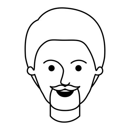 male face with short hair and goatee beard in monochrome silhouette vector illustration