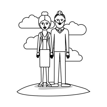 couple monochrome scene outdoor and her with blouse and jacket and skirt and heel shoes with collected hair and him with beard and sweater and pants and shoes with taper fade haircut vector illustration
