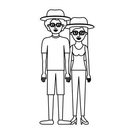 couple monochrome silhouette and both with hat and glasses and him with shirt and short pants and shoes and curly hair and her with blouse and pants and heel shoes with long straight hair vector illustration Çizim