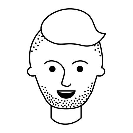 male face with high fade haircut and stubble bear in monochrome silhouette vector illustration Illustration
