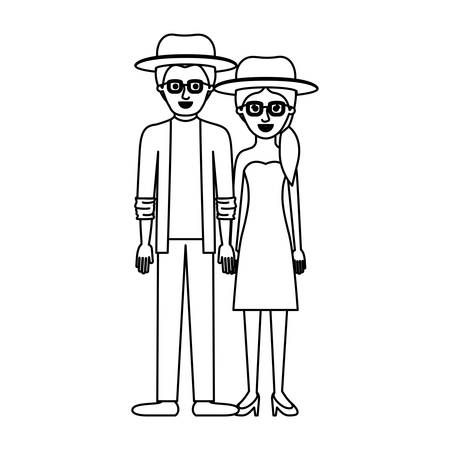couple monochrome silhouette and both with hat and glasses and him with shirt and jacket and pants and shoes and her with strapless dress and heel shoes with pigtail hairstyle vector illustration