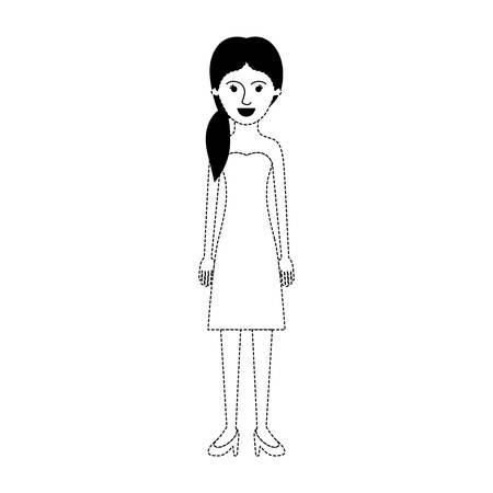 woman full body with strapless dress and heel shoes with pigtail hairstyle in black dotted silhouette vector illustration