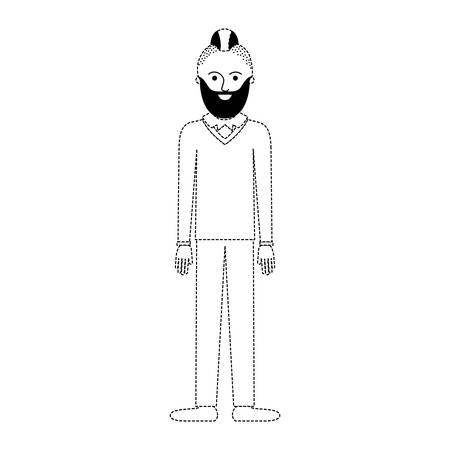 man full body with beard and sweater and pants and shoes with taper fade haircut in black dotted silhouette vector illustration
