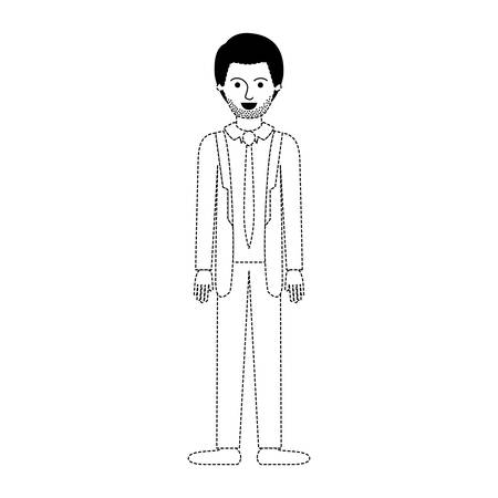 man full body with suit and tie and pants and shoes with short hair and stubble beard in black dotted silhouette vector illustration