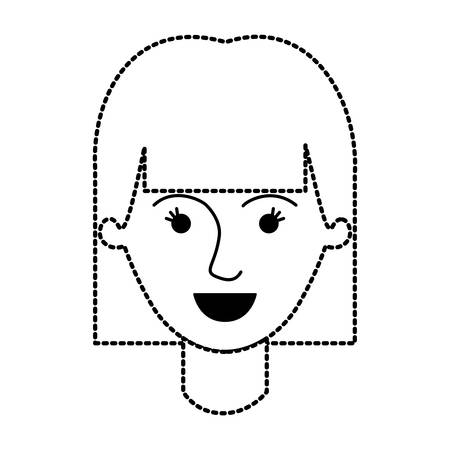 female face with mushroom hairstyle in black dotted silhouette vector illustration