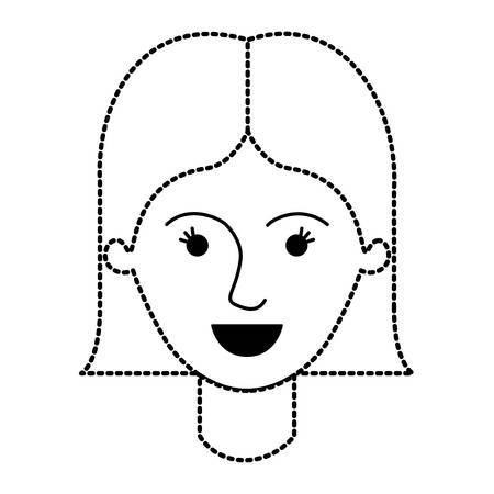 female face with short straight hairstyle in black dotted silhouette vector illustration
