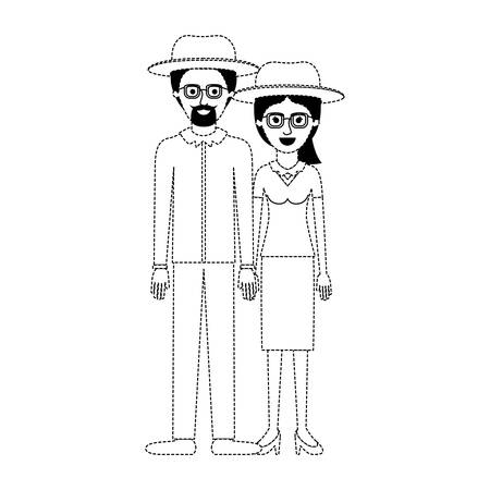 couple in black dotted silhouette and both with hat and glasses and him with goatee beard and shirt and pants and shoes and her with blouse and skirt and heel shoes with ponytail hairstyle vector illustration Illustration
