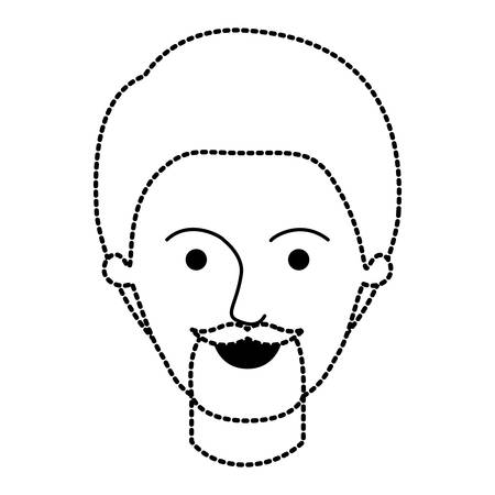 male face with short hair and goatee beard in black dotted silhouette vector illustration