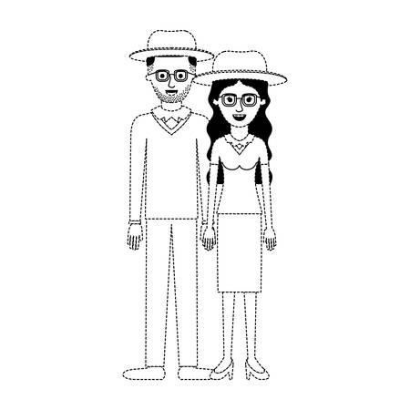 couple in black dotted silhouette and both with hat and glasses and him with stubble beard and sweater and pants and shoes and her with blouse and skirt and heel shoes with long wavy hair vector illustration