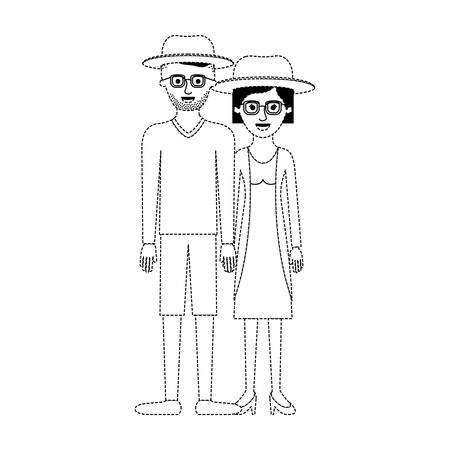 couple in black dotted silhouette and both with hat and glasses and him with stubble beard and sweater and short pants and shoes and her with jacket and dress and heel shoes with short hair vector illustration Illustration