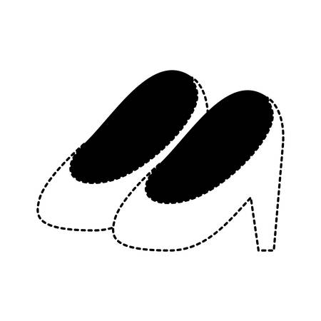heel shoes in black dotted silhouette on white background vector illustration