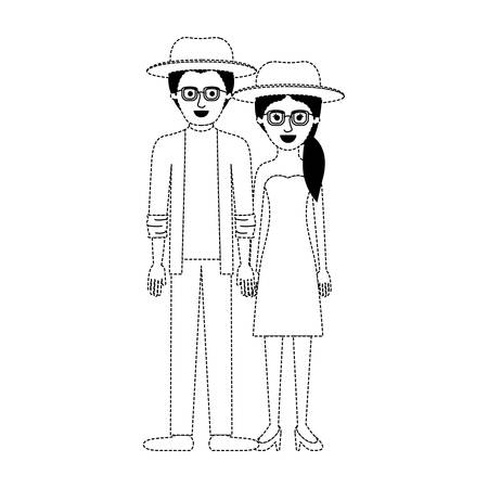 couple in black dotted silhouette and both with hat and glasses and him with shirt and jacket and pants and shoes and her with strapless dress and heel shoes with pigtail hairstyle vector illustration