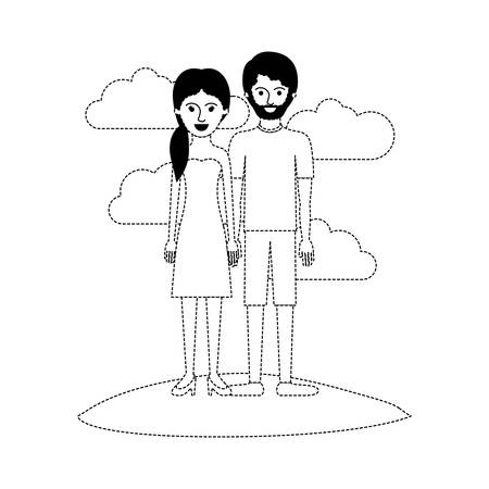 couple scene outdoor and her with strapless dress and heel shoes with pigtail hairstyle and him with t-shirt and short pants and shoes with short hair and beard in black dotted silhouette vector illustration Illustration