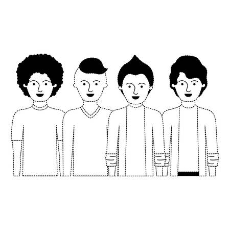 men in half body with casual clothes with short hair and hairstyles different in black dotted silhouette vector illustration Illustration