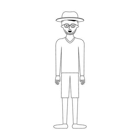 man with hat and glasses and sweater and short pants and shoes with short hair and stubble beard in black dotted silhouette vector illustration