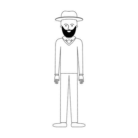 man with hat and sweater and pants and shoes with short hair and beard in black dotted silhouette vector illustration