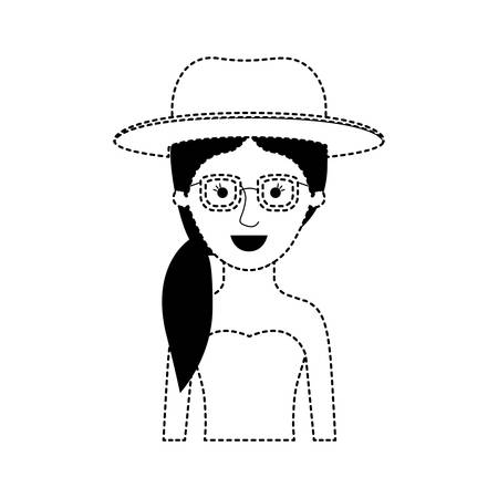 woman half body with hat and glasses and strapless dress with pigtail hairstyle in black dotted silhouette vector illustration
