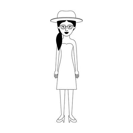 woman with hat and glasses and strapless dress and heel shoes with pigtail hairstyle in black dotted silhouette vector illustration