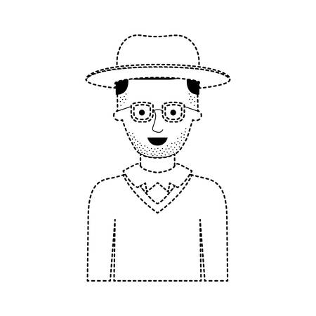 man half body with hat and glasses and sweater with short hair and stubble beard in black dotted silhouette vector illustration