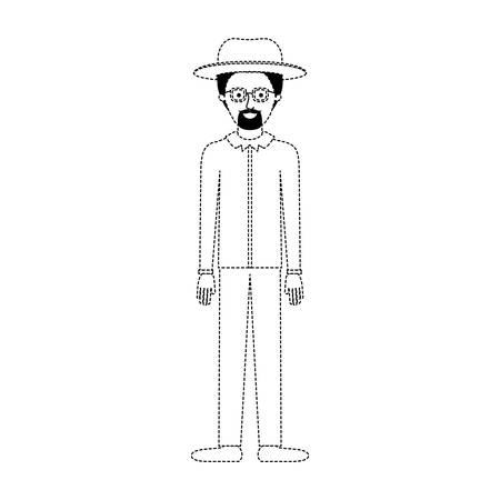 man with hat and glasses and shirt and pants and shoes with short hair and goatee beard in black dotted silhouette vector illustration Illustration