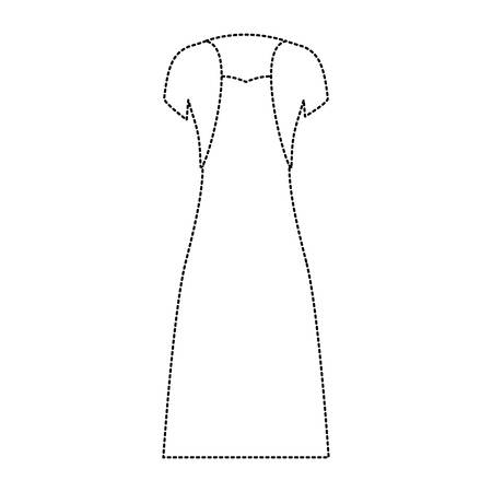 female clothes with strapless dress and vest in black dotted silhouette vector illustration