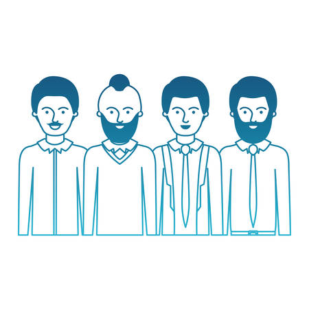 men in half body with casual clothes with short hair and some with beard and moustache in degraded blue silhouette vector illustration Illustration