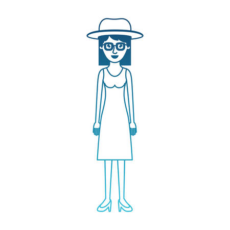 woman with hat and glasses and dress and heel shoes with mid length hair in degraded blue silhouette vector illustration