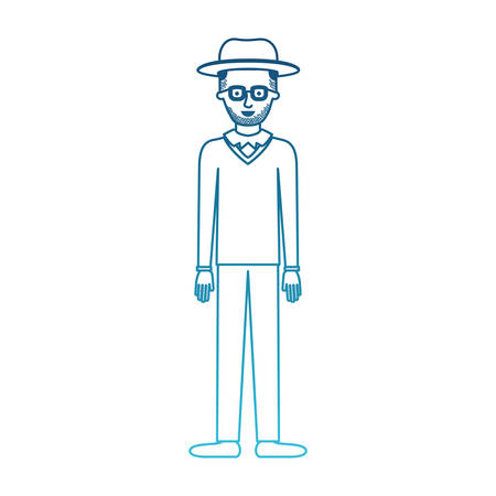 man with hat and glasses and sweater and pants and shoes with short hair and stubble beard in degraded blue silhouette vector illustration